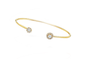 """Fancy Diamond Collection """"C"""" Bangle in Yellow Gold"""