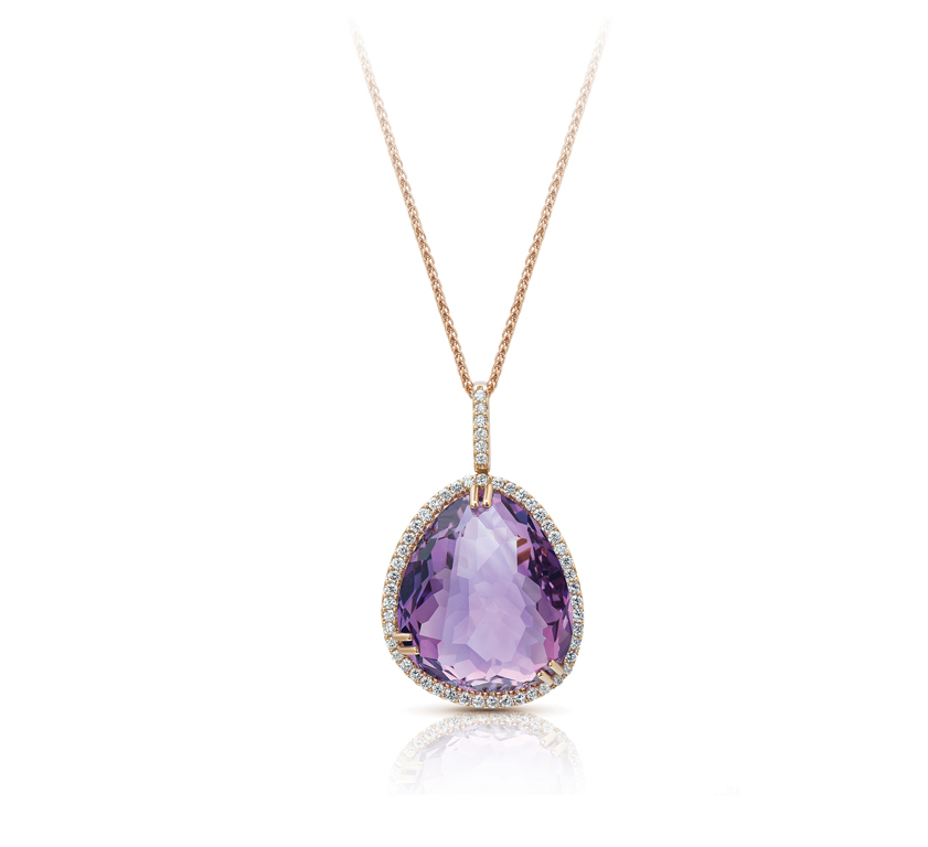 Semi Precious Collection Amethyst With Diamonds Pendant Chain