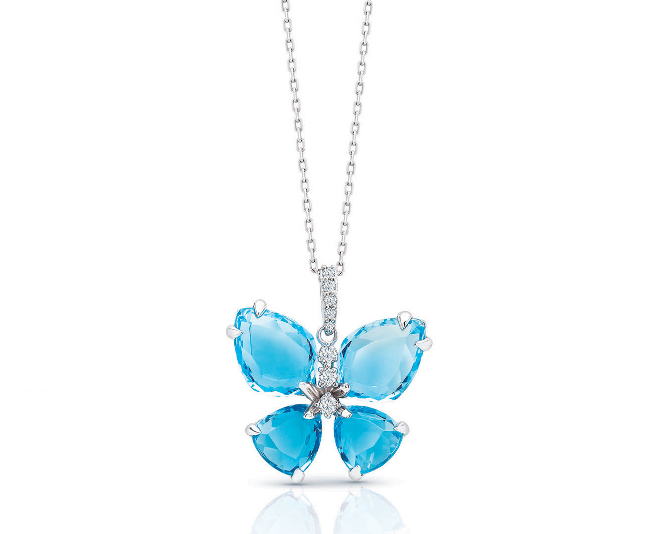 Semi Precious Collection Blue Topaz With Diamonds Butterfly Pendant Chain