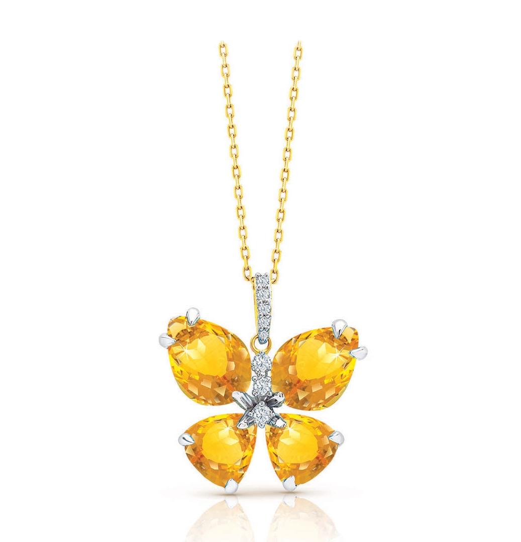 Semi Precious Collection Citrine With Diamonds Butterfly Pendant Chain