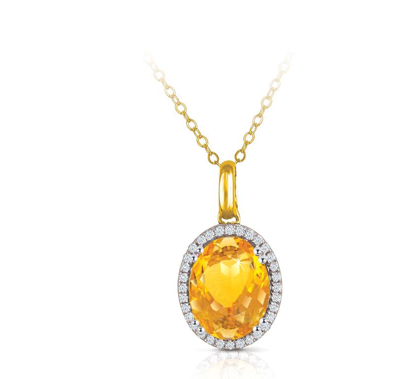 Semi Precious Collection Citrine With Diamonds Pendant Chain