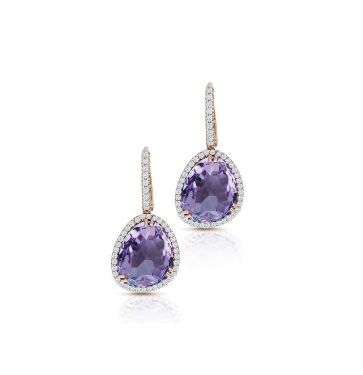Semi Precious with Diamond Amethyst Earring