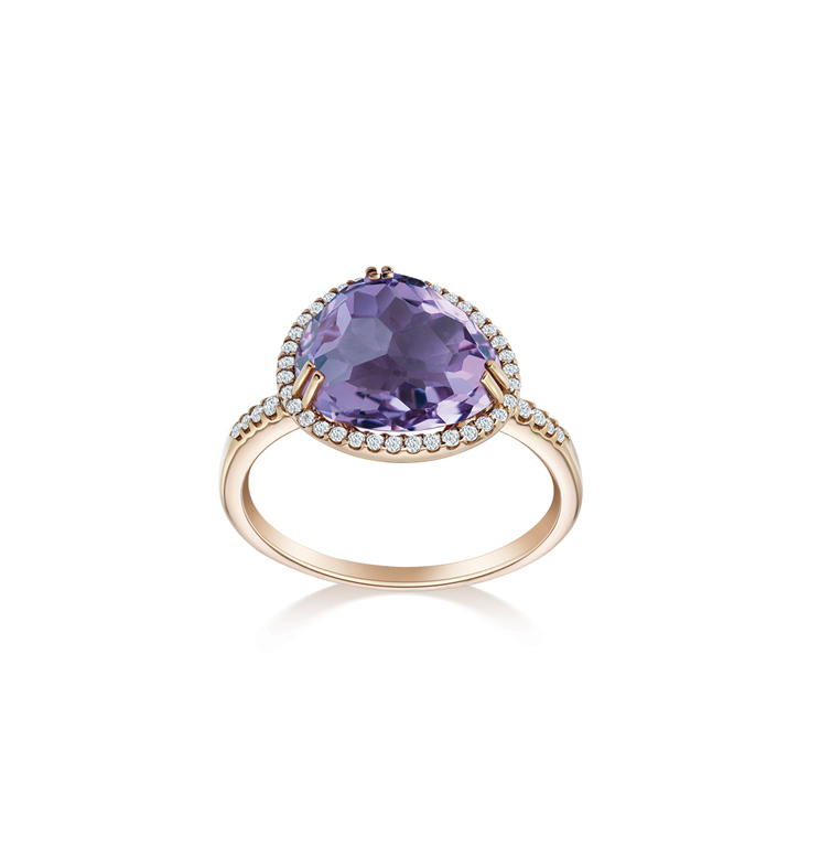 Semi Precious with Diamond Ameythst Ring