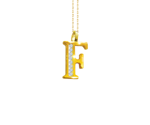 Floating Diamond Alphabet Pendant Chain