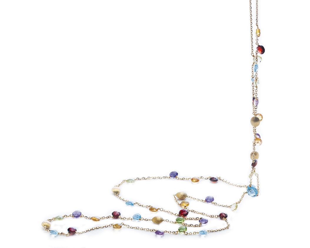 Long Necklace with Gold Beads & Multi Color Stones