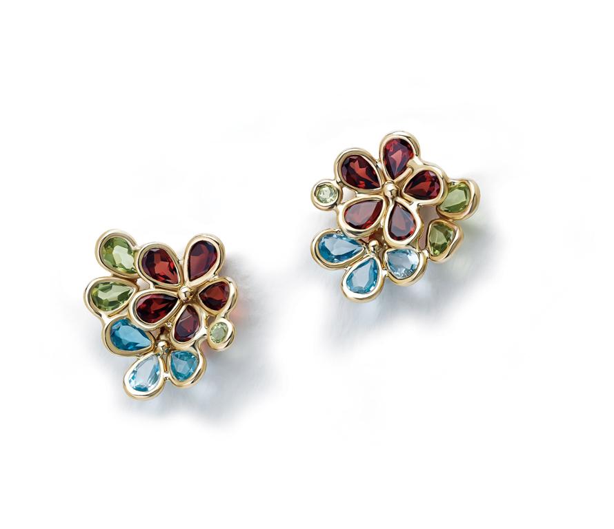 Semi Precious Multi Color Flower Design Earring
