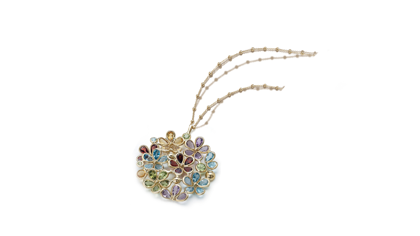 Semi Precious Multi Color Flower Pendant Chain