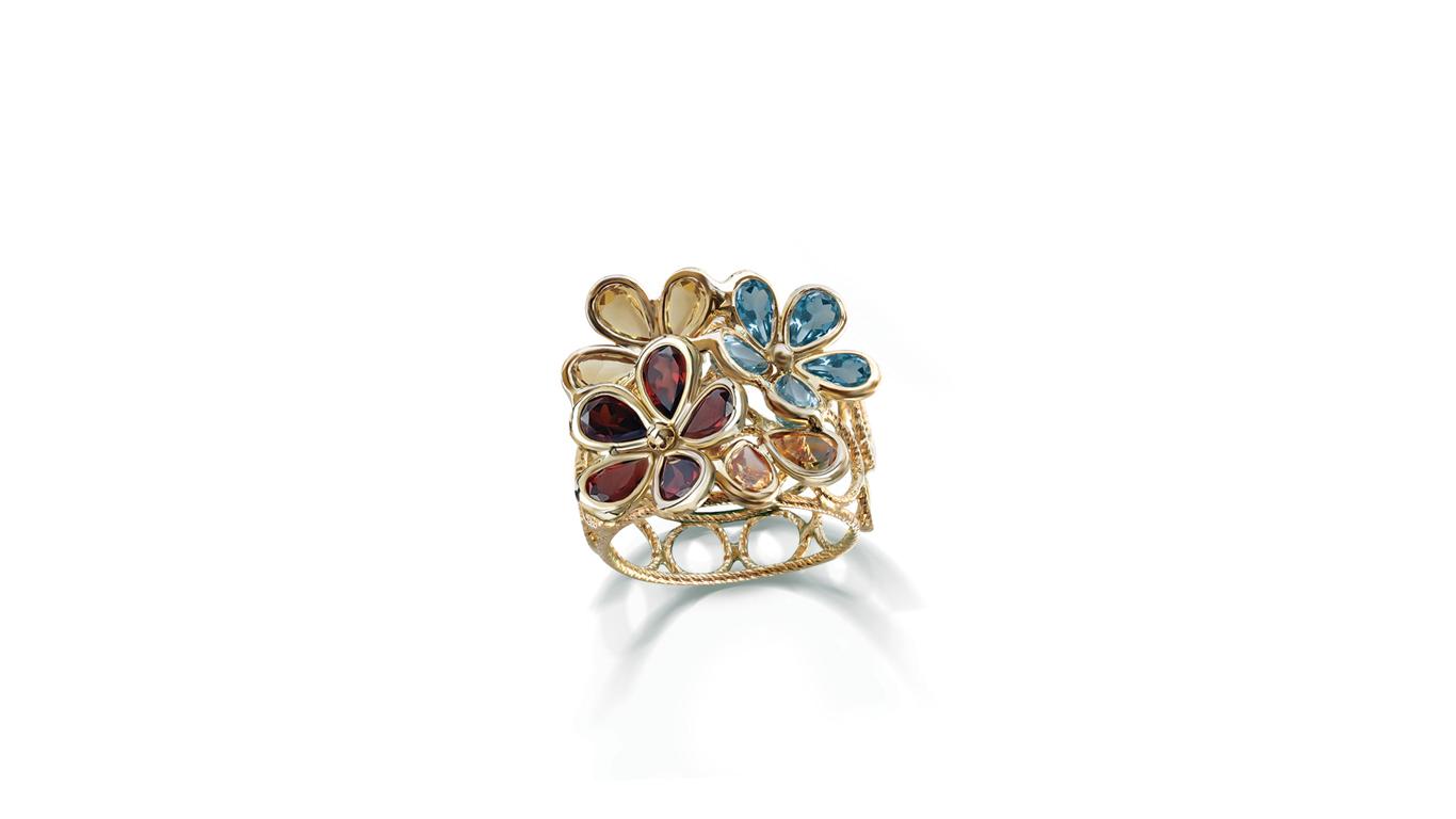 Semi Precious Collection Multi Color Flower Ring