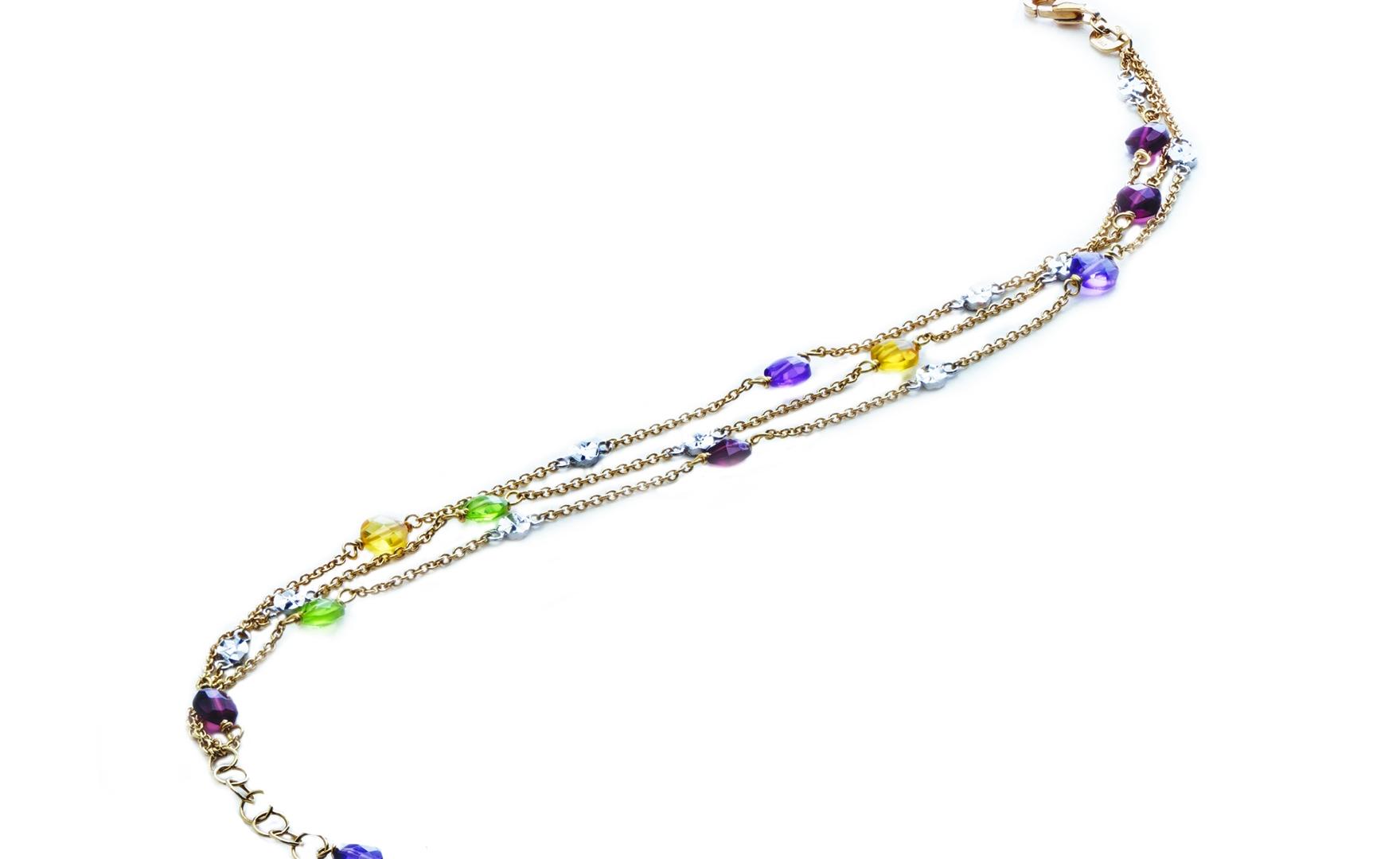 Semi Precious Multi Color Three Line Bracelet