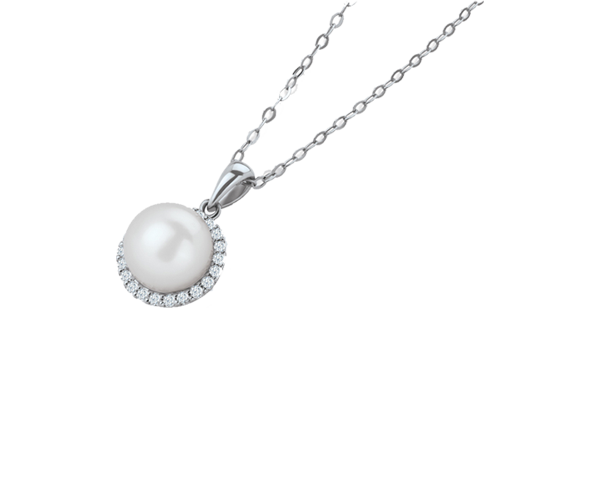 Classic Pearl Pendant Chain With Diamonds