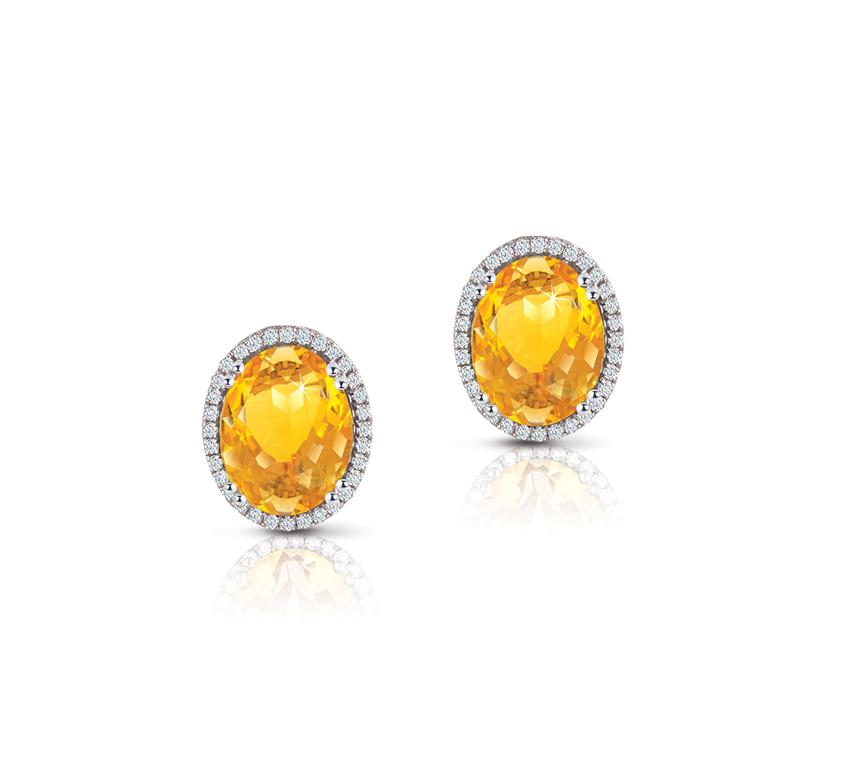 Semi-Precious Collection Citrine Diamonds Earring