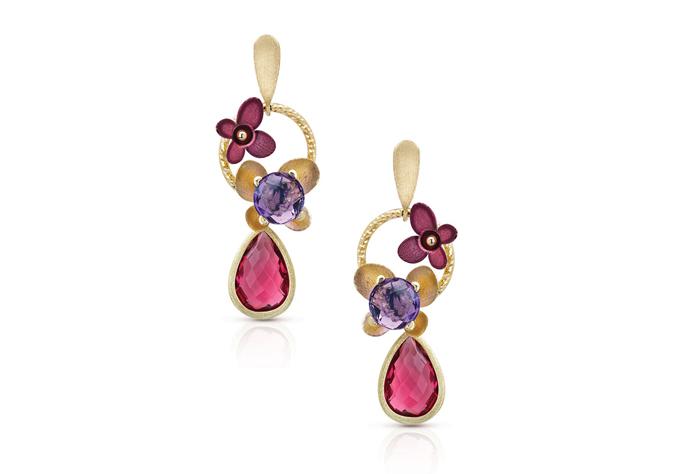 Semi Precious Stone Floral Design Earring
