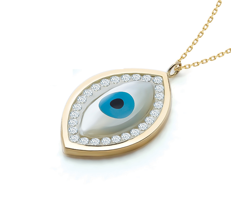 Floating Stone Collection Evil Eye Pendant Chain