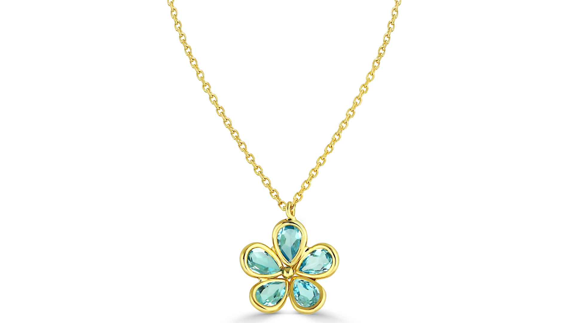 Blue Topaz Flower Necklace