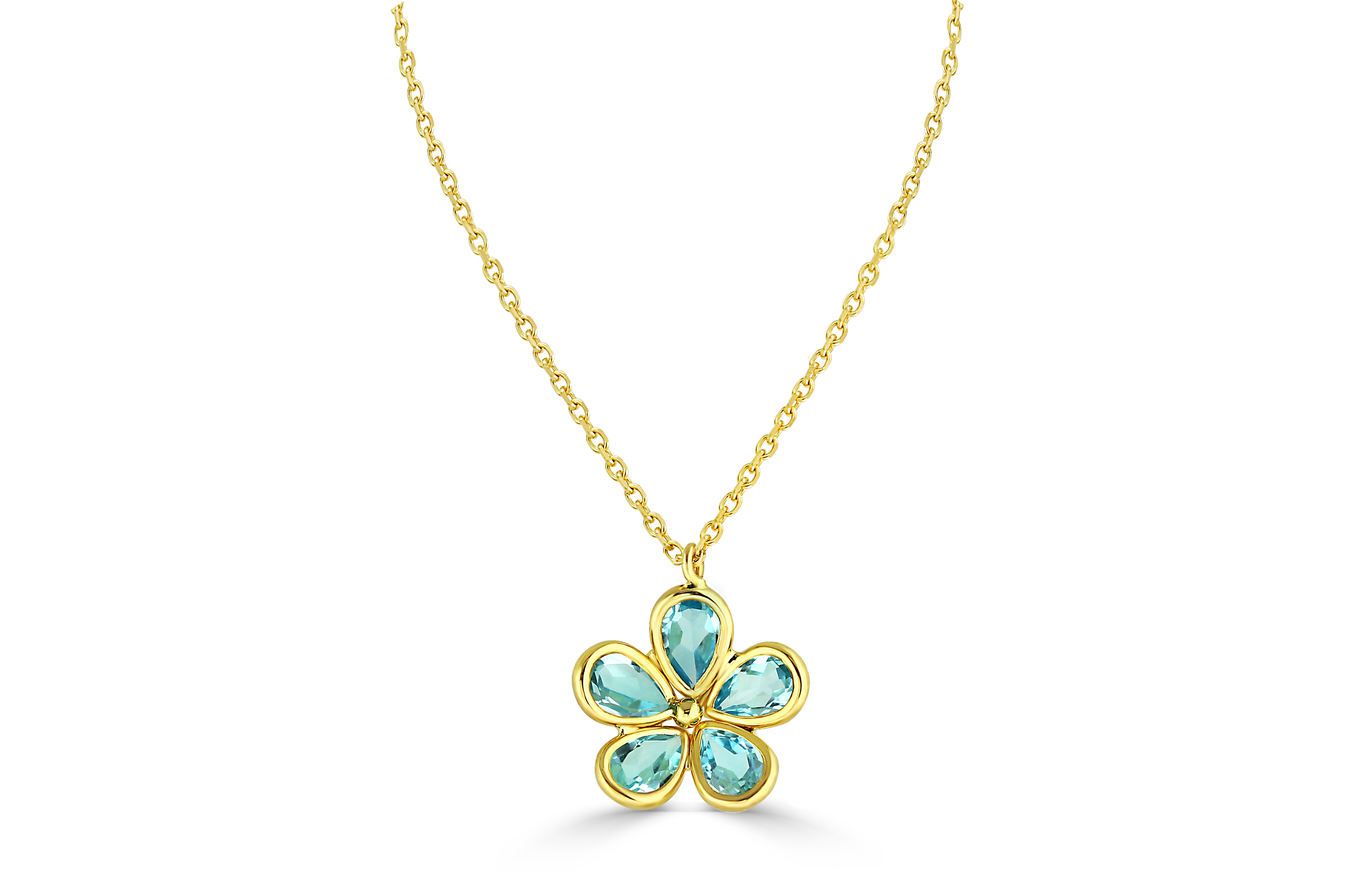 Blue Topaz Flower Necklace