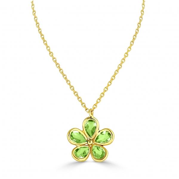 Peridot Flowe Necklace