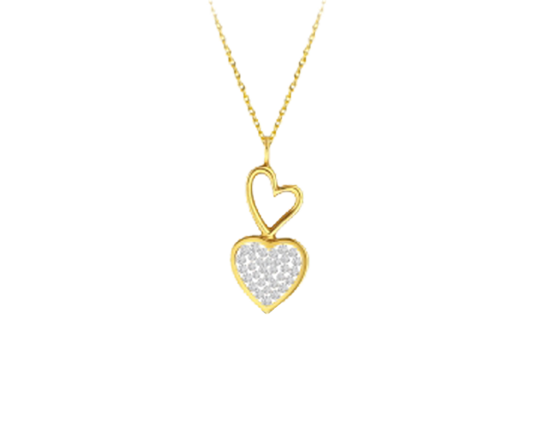 Floating Diamond Double Heart Pendant Chain