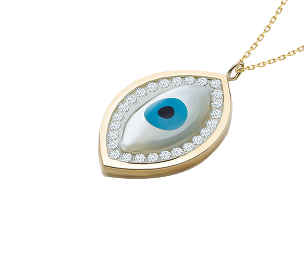 Mother of Pearl Evil Eye Pendant Chain