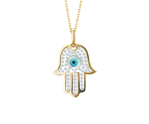 Floating CZ Fatima hand with Evil eye Pendant Chain