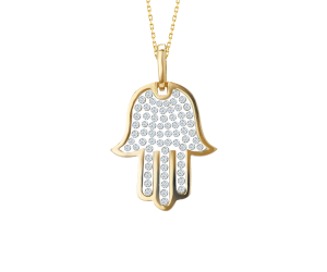 Floating CZ Fatima Hand Pendant Chain