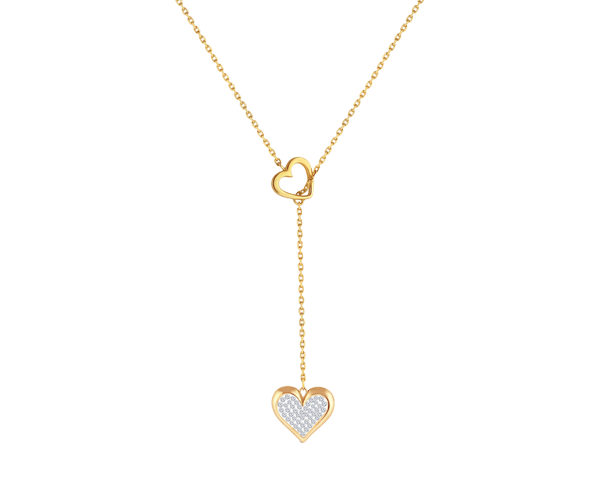 Floating Diamond Heart in Heart Necklace
