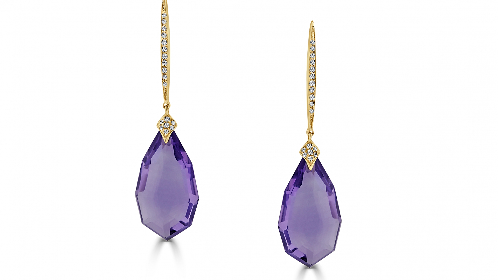 Ameythst with Diamond Pear Shape Earring
