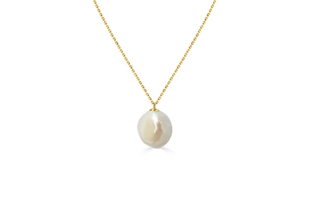 Baroque Pearl With 18K YG Chain