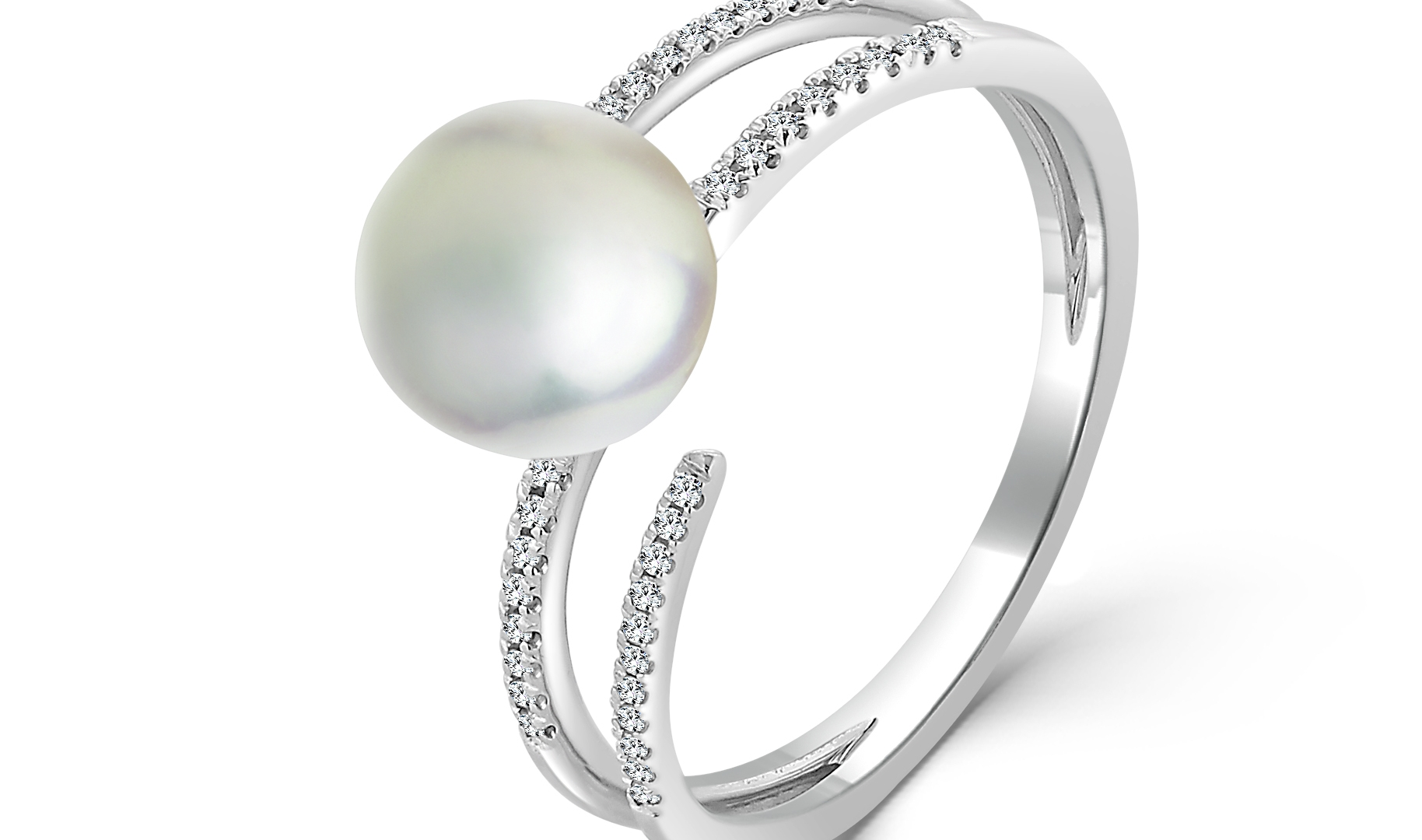 Pearl Ring with 18K WG and diamonds