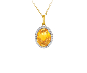 Semi Precious Color Stone Pendant Chain With Diamonds