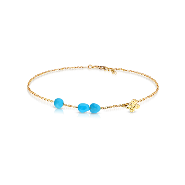 Turquoise Nuggets and Butterfly Charm Bracelet