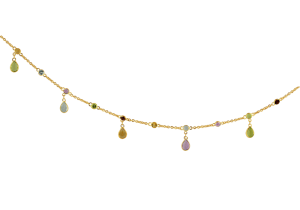 Anklet with Multi Color Semi Precious Stones