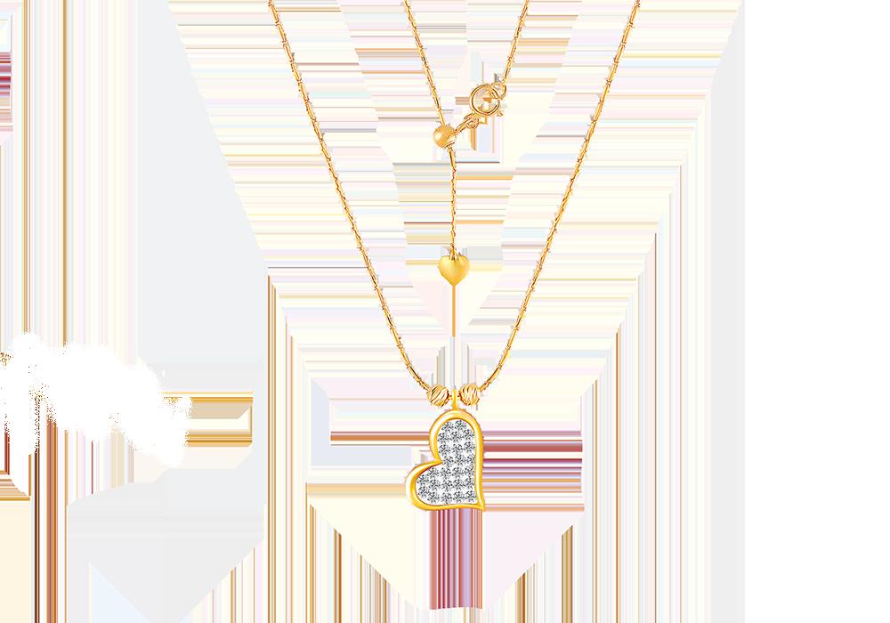 Floating Diamond Heart Necklace