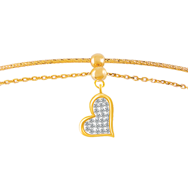 Floating Diamond Heart Bangle