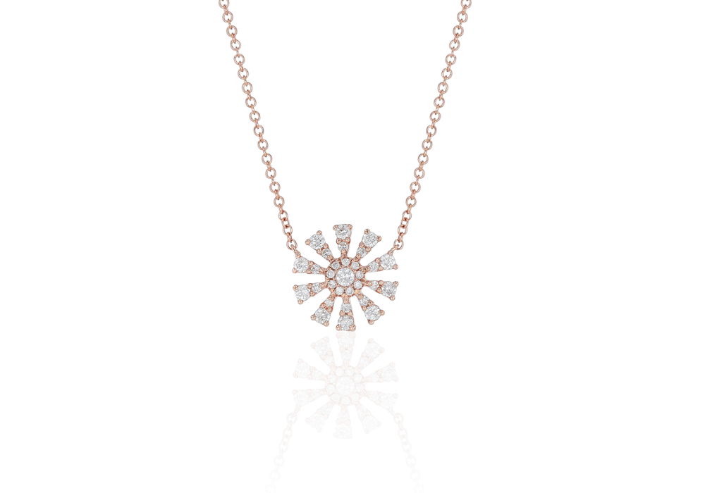 Flower Design Diamond Pendant Chain