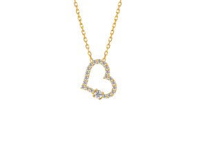 Classic Diamond heart Necklace Yellow Gold