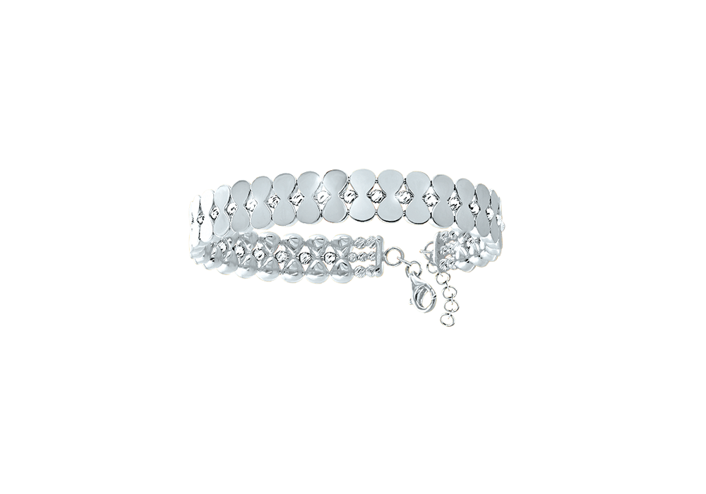 18k White Gold Bangle with Diamond cut Gold Beads