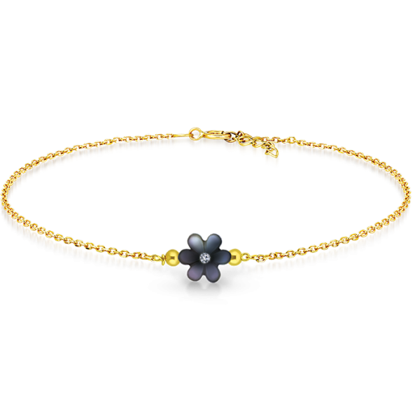 Black mother of pearl flower bracelet