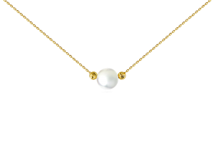 Single pearl with two beads necklace