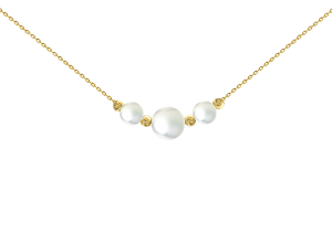 Three Pearl with Four Beads Necklace