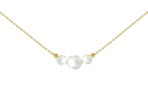 Three pearl with two beads necklace