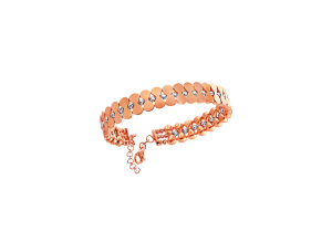 18k Rose Gold Bangle with Diamond cut Gold Beads