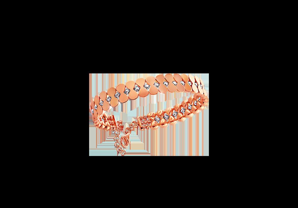 18k Rose Gold Bangle with Diamond cut Gold Beads
