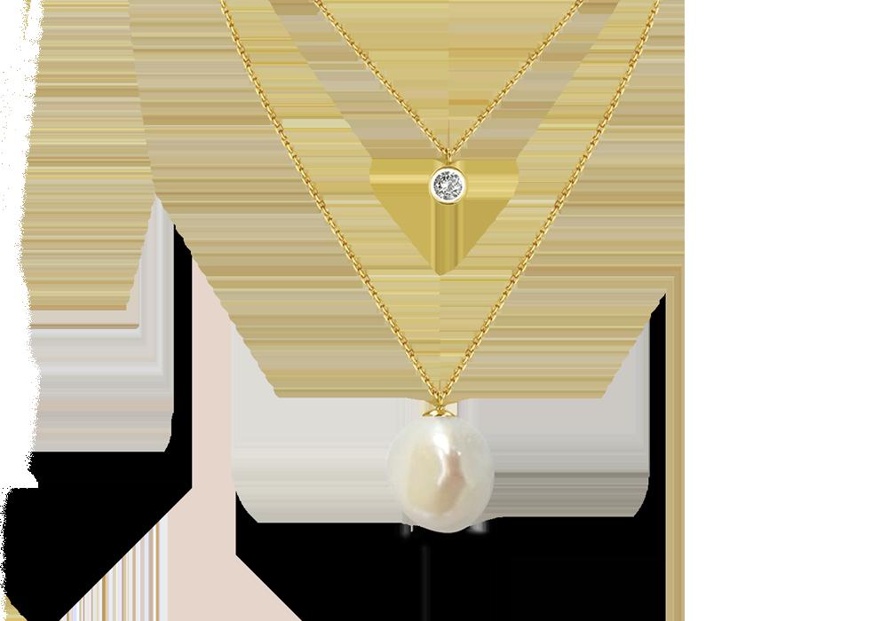 Small Baroque Pearl step Chain