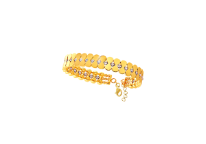 18k Yellow Gold Bangle with Diamond cut Gold Beads