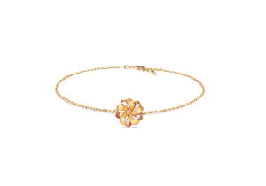 Ribbon Flower Design 18k Gold Bracelet