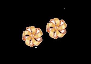 Ribbon Flower Design 18k Gold Earring