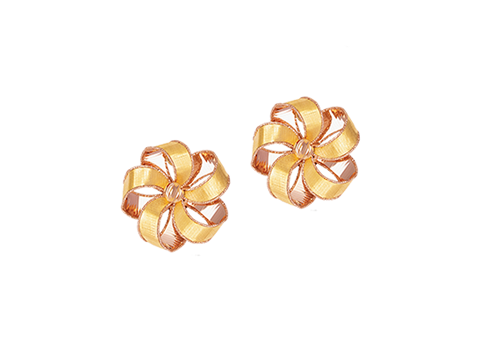 Ribbon Flower Design 18k Gold Earring