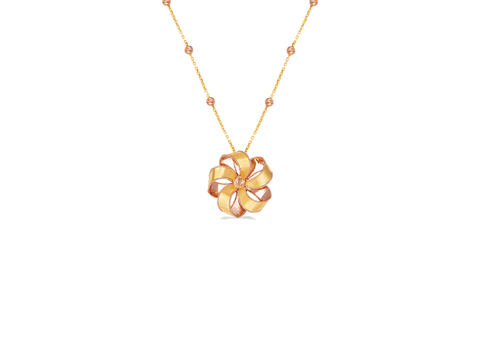 Ribbon Flower Design 18k Gold Necklace