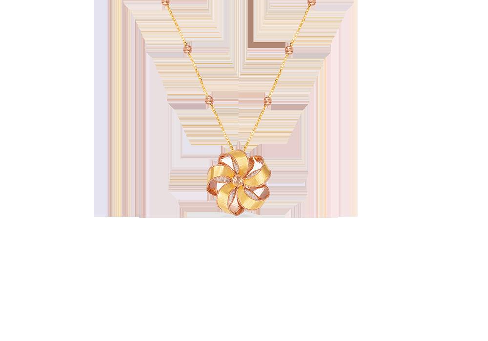 Ribbon Flower Design 18k Gold Necklace