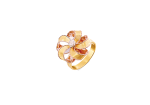 Ribbon Flower Design 18k Gold Ring